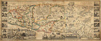 1823 Pictorial Map Jerusalem Palestine Vintage Art Poster Print Wall Decor