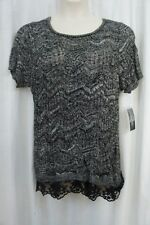 INC International Concepts Woman Top Sz 0x Deep Black White Majestic Knit Top