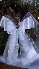 1große  Weihnachtsschleife,Christbaumschleife weiß/silber , Deko Weihnachten