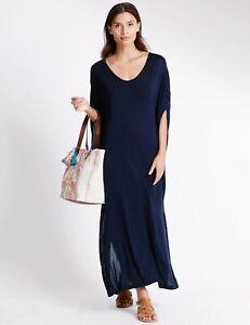 EX M&S Marks Spencer Navy Angel Sleeve Jersey Loose Fit Summer Maxi Beach Dress