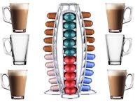 40 NESPRESSO COFFEE POD TOWER STAND HOLDER +6 FREE LATTE GLASSES MUGS CUPS SPOON