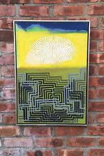 New York Abstract Artist Boyce Benge Geometric Abstract Painting. Signed 1980