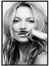 Kate Moss life is a joke moustache black and white print art chic fashion