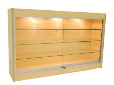 Maple Wall Mounted Display Showcase with Glass Doors, Shelves, Lights, & Lock
