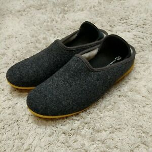 Mahabis Classic Wool Slippers Dark Grey Yellow Sole Eu40 Womans 9.5