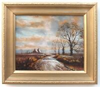 Dunsford Farm Winter English Country Landscape Oil Painting Signed Framed Devon