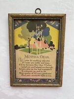 """Vintage Motto Poem """"MOTHER DEAR"""" Art Deco Print In Original Frame 1920's"""