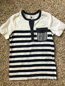 Boys Tea Collection blue and white striped Henley shirt size 12
