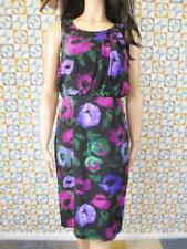 10 S - Laura Ashley Womens Black Floral Silk Dress Evening Summer Wedding - L935