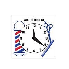 "Scalpmaster ""Will Return At"" Sign w/ Clock 7 x 7"""