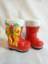 Santa Claus Boots Salt and Pepper Shakers Red Yellow Bows Porcelain Christmas