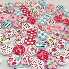 100Pcs Mixed Bulk Printing Wooden Sewing Buttons Scrapbooking DIY Craft 2 Holes