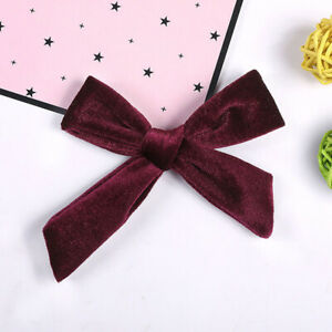 Candy Color Baby Girl Soft Hair Band Clip Kids Toddlers Velvet Bowknot Headband
