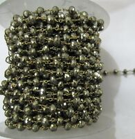 3 Feet AAA Quality Natural Pyrite Beaded chain 6-8mm Rosary Style Vermeil Chain