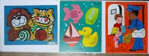 Vintage Wooden Puzzles 2 Playskool Postman & For My Bath & 1 Rainbow Crafts Pets