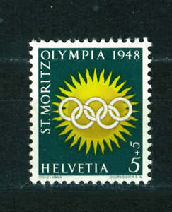 Switzerland 1948 Winter Olympic Games 5c+5c stamp. MNH. Sg 481