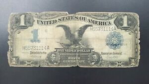 1899 $1 USA Large Size Note Black Eagle Silver Certificate DBL REPEAT SERIAL #