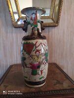 Vase Nankin à décor de scènes guerrières polychromes