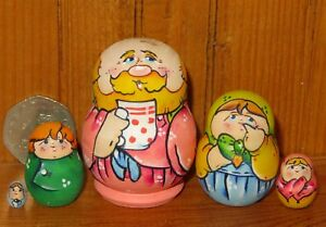 MATRYOSHKA Nesting Russian Dolls MINIATURE Tiny Family 5 LATISHEVA Dad tea cup
