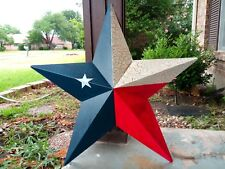 """24"""" RED WHITE BLUE BARN STAR METAL ART WESTERN HOME DECOR RUSTIC VINTAGE NEW"""