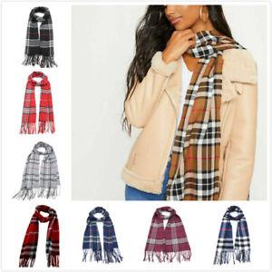 Womens Men Classic Tartan Scarf Scottish Checks Wool Blend Plaid Wrap Unisex