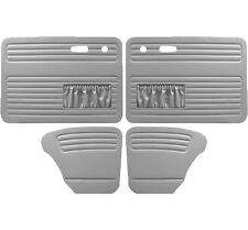 VW Door Panels, Full Set w/Pockets, Grey Smooth Vinyl, Beetle/Super Sedan 67-77