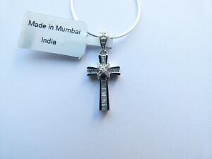 Gemporia/Gem TV - Certified 1/4ct Diamond Sterling Silver Cross Pendant Necklace