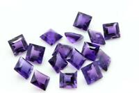 NATURAL PURPLE AMETHYST 5X5 MM SQUARE CUT FACETED LOOSE AAA GEMSTONE LOT