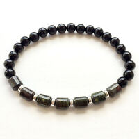 Dragon Blood Jasper Bracelet With Black Onyx & Sterling Silver Stretch Fit UK