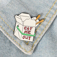 Funny Rude F*** This That You Enamel Pin Spinner Wheel Adult Eat Me Out Jacket