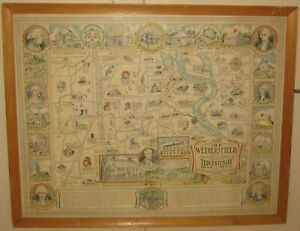 Rare ORIGINAL Vintage 1934 OLD WETHERSFIELD CONNECTICUT Pictorial Town MAP