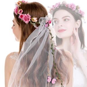 Women's Flower Crown Headband Butterfly Garland Veil Hair Wreath Bridal Wedding