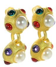 Kenneth J Lane KJL Faux Pearl Cabochon Multi-color Clip-on Earrings