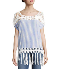 NWT $70 Steve Madden Top Crochet Tunic Top Size S/M Blue Striped Fringe Relaxed
