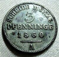 3 Pfennige 1860 A Scheidemünze - PREUSSEN / PRUSSIA 120 einen Thaler - vz erh.