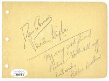 Vivien Leigh Desi Arnaz Eddie Bracken Signed 4x6 Vintage Album Page JSA LOA