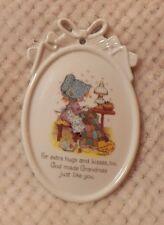 Paula's Cherished Sentiments Porcelain Plaque with Hanger God Made Grandmas EUC