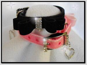 ~My Little Velvet Bow Tie~ Crystal Rhinestone Dog Cat Collar  Soooo Cute!  #504
