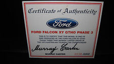 BIANTE 1/18 COA CERTIFICATE OF AUTHENTICITY M CARTER FORD FALCON XY GTHO SIGNED