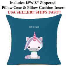 "18x18 18"" HORN TO BE WILD BABY UNICORN HORSE Zipper Throw Pillow Case & Cushion"