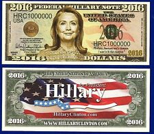 1-Hillary Clinton 2016 Presidential Dollar Bill Collectible-Democrat  - E3