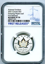 2021 $3 1/4 OZ CANADA SILVER PULSATING MAPLE LEAF NGC PF70 REV PROOF MINTAGE 3K