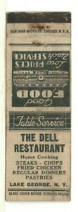 c1940 Matchbook: The Dell Restaurant – Lake George, New York – Table Service