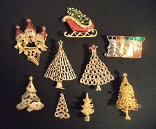 Vtg Christmas Holiday Brooch Pin 9 Lot Trees Gerry's JJ Avon Rhinestone Goldtone