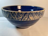 Vintage Blue and Cream Stoneware Pottery Mixing Bowl 9""