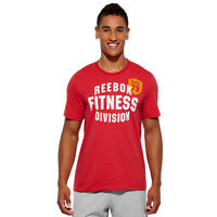 Men's Reebok Sports T-shirt Fit Tee Red Fitness Gym Short Sleeve Shirt