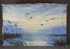 Vintage Wildlife Oil Painting Ducks Alighting Birds in Flight Norfolk Signed
