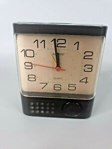 Salvest 1970s Retro Alarm Clock Quartz Brown Portable Battery operated Travel