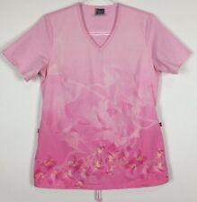Metro Scrubs by Barco Scrub Top Size XS Pink Floral Ties 2 Pocket Nursing