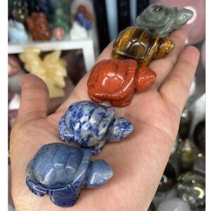"1.5"" Turtle Tortoise Natural Gems Crystal Carved Reiki Healing Animal Figurine"